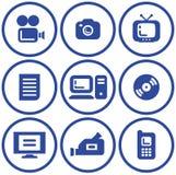 Media - iconos del vector Fotos de archivo
