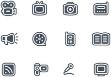 Media - iconos del vector fijados Imagen de archivo