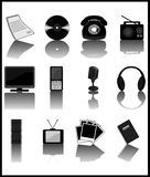 Media-icons. Set of black media icons. Vector illustration Stock Photo