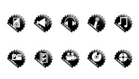 Media icons. Set of black media icons for web Stock Photos