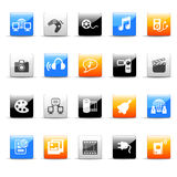 Media icons. Set of 20 glossy colorful media icons stock illustration