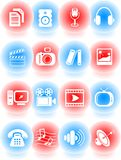 Media icons. Miscellaneous multimedia vector icons, sphere style Royalty Free Stock Photo
