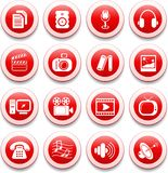 Media icons. Miscellaneous multimedia vector icons, red style Royalty Free Stock Photos