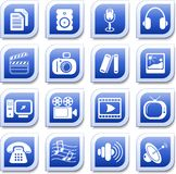 Media icons. Miscellaneous multimedia  icons, blue style Royalty Free Stock Photography