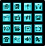 Media icons. Miscellaneous multimedia vector icons, glassy style Royalty Free Stock Images