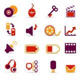 Media icons. Set of 16 multimedia icons on white background Stock Image