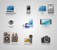 Media icons. A set of nine glossy media icons Royalty Free Stock Photography