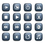 Media Icons. 16 Media player icons over a white background Royalty Free Illustration