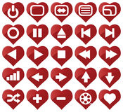 Media icons. In heart shapes Stock Image