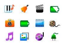 Media icons. Set of 12 colorful media icons stock illustration