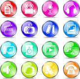 Media icons. Miscellaneous multimedia vector icons, rainbow style Stock Image