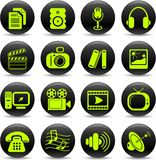 Media icons. Miscellaneous multimedia vector icons, green-and-black style Stock Photos