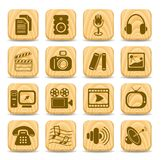 Media icons. Miscellaneous multimedia vector icons, woody style Stock Image