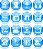 Media icons. Miscellaneous multimedia vector icons, aqua style Royalty Free Stock Images