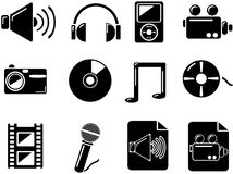 Media icons. Black. Media icons for web. Black buttons for internet Royalty Free Stock Photo