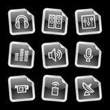 Media icons, black sticker Royalty Free Stock Photos