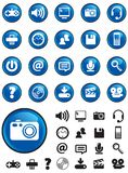 Media icons on Blue buttons. Media Computer icons on Blue buttons with NO TRANSPARENCIES, totally editable shapes.  Pictures in both white and black, perfect for Royalty Free Stock Image
