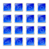Media icons on blue buttons Royalty Free Stock Images