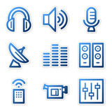 Media icons, blue series Stock Photography