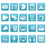 Media icons on blue squares Royalty Free Stock Photo