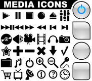 Media icons and buttons. Media vector icons collection with 3 buttons variants isolated on white background Stock Photos