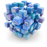 Media icons cube. Cubic blue structure with media icons  on white Stock Images