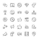 Media Icons Doodle Collection. This pack consists of wide range of media tools icons. It covers the media aspects such as communication, social and electronic. A Royalty Free Stock Image