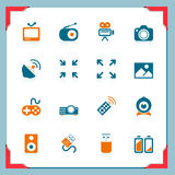 Media icons | In a frame series. Multimedia icons | In a frame series Stock Image