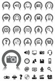 Media icons with Gray Device. Media Computer icons on gray buttons with NO TRANSPARENCIES, totally editable shapes.  Pictures in both white and black, perfect Royalty Free Stock Photography