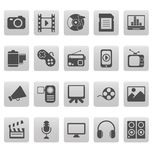 Media icons on gray squares Royalty Free Stock Photos