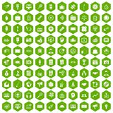 100 media icons hexagon green. 100 media icons set in green hexagon isolated vector illustration Royalty Free Stock Image