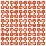 100 media icons hexagon orange. 100 media icons set in orange hexagon isolated vector illustration vector illustration