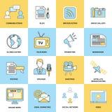 Media Icons Line Flat Royalty Free Stock Image