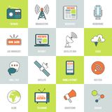 Media Icons Line Flat Royalty Free Stock Photos