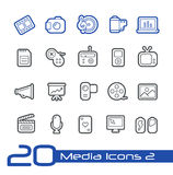 Media Icons // Line Series. Vector icons set for your web or presentation projects. EPS 10 Royalty Free Stock Photo