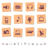 Media icons on memo notes Royalty Free Stock Images