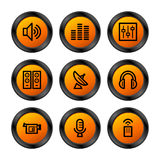 Media icons, orange series Stock Images