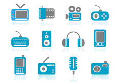 Media icons part 1 | Mediterra. Nean series. 12 blue icons with media content, which can be used for your web page vector illustration