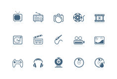Media icons | piccolo series. Set of 12 Media icons | piccolo series Stock Image