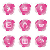 Media icons, pink series Royalty Free Stock Photos