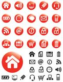 Media icons on Red buttons vector illustration