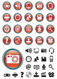 Media icons on Red buttons Stock Photo