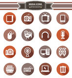 16 Media Icons,Retro Style. On White background Stock Photos