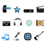 Media icons set. Set of vector realistic media icons Royalty Free Stock Image