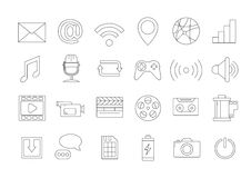 Media icons set. Set of 24 media icons Stock Photo