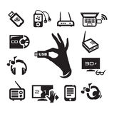 Media icons set. Authors illustration in vector Royalty Free Stock Photos
