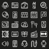 Media icons set on black background. Created For Mobile, Web, Decor, Print Products, Applications. Icon . Vector illustration Stock Illustration