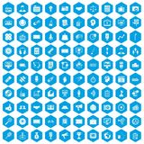 100 media icons set blue. 100 media icons set in blue hexagon isolated vector illustration Stock Illustration