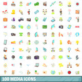 100 media icons set, cartoon style Royalty Free Stock Photos