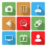 Media Icons Set with color sadow Vol 2 Stock Photos